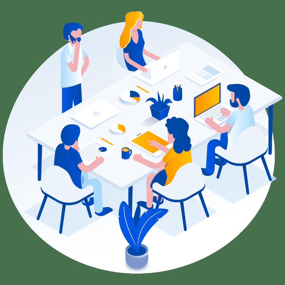 reunion de travail pour préparer une campagne